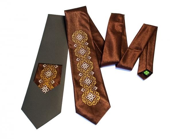 Галстук с вышивкой Омикрон