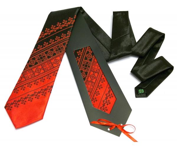 Галстук с вышивкой Красно-черный дуэт