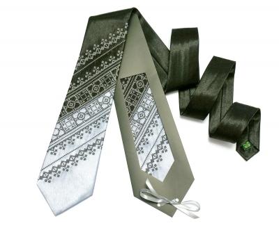 Галстук с вышивкой Черно-серый дуэт