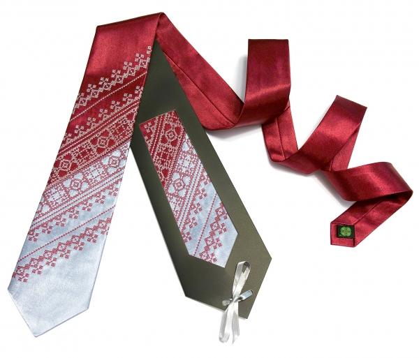 Галстук с вышивкой Бордово-серый дуэт