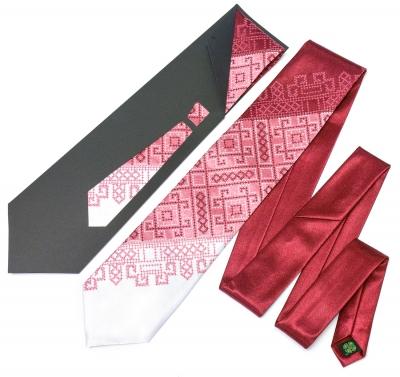 Галстук с вышивкой Бордовое Трио