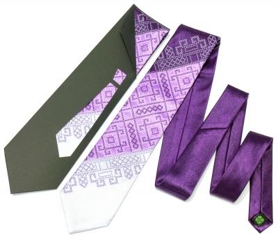 Галстук с вышивкой Фиолетовое Трио