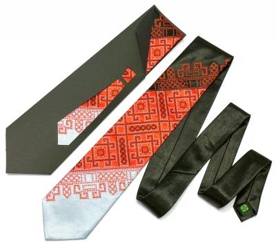 Галстук с вышивкой Черно-красное Трио