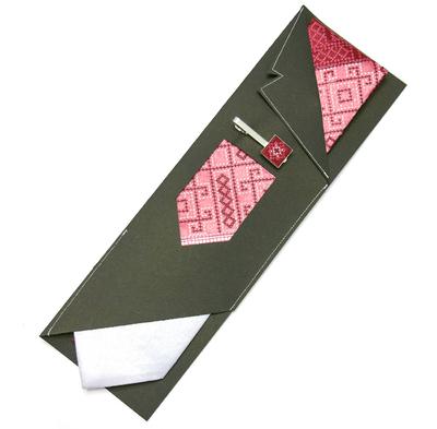 Вышитый галстук с зажимом Бордовое Трио