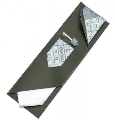 Вышитый галстук с зажимом Серое Трио