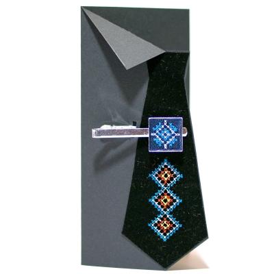 Вышитый зажим для галстука с орнаментом (синий)