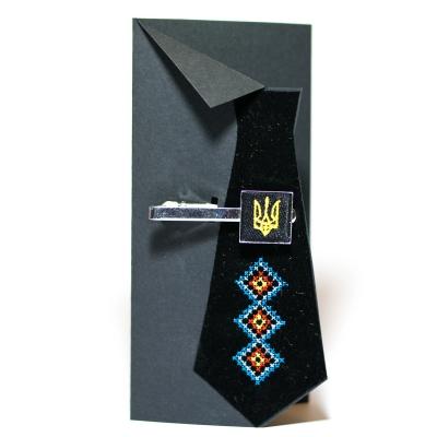 Вышитый зажим для галстука с трезубцем (черный)