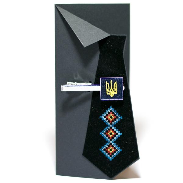Вышитый зажим для галстука с трезубцем (синий)