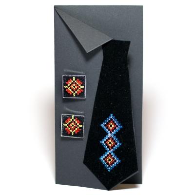 Вышитые запонки с орнаментом (черные)