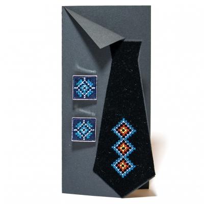 Вышитые запонки с орнаментом (синие)