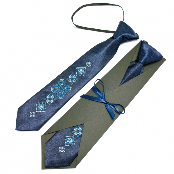 Детский вышитый галстук на резинке Идан