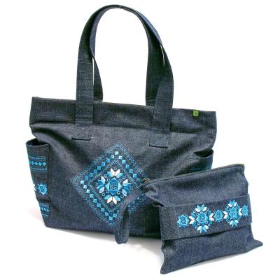 Джинсовая вышитая сумка + клатч