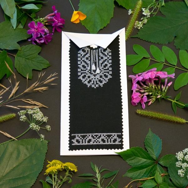 Черная вышитая открытка №619