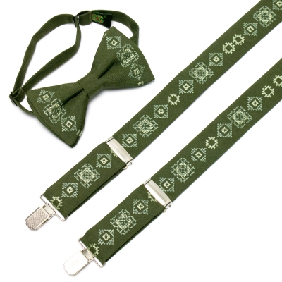 Зеленые вышитые подтяжки №636