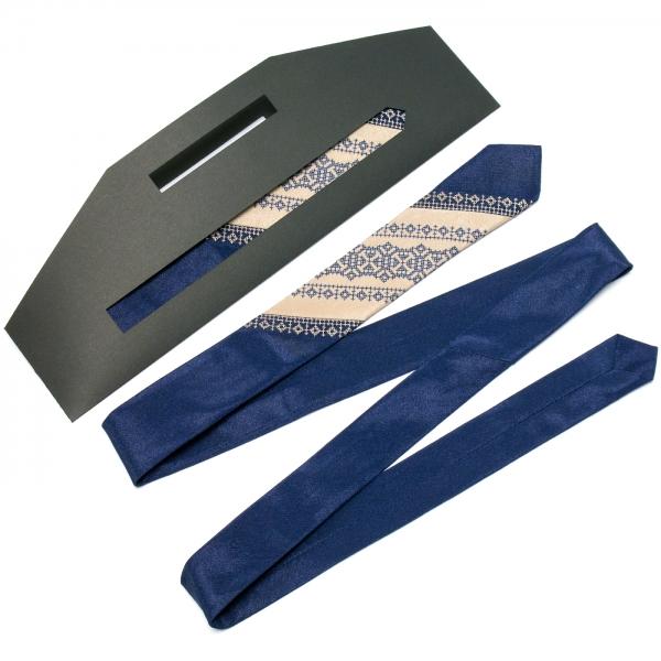 Тонкий оригинальный вышитый галстук №655