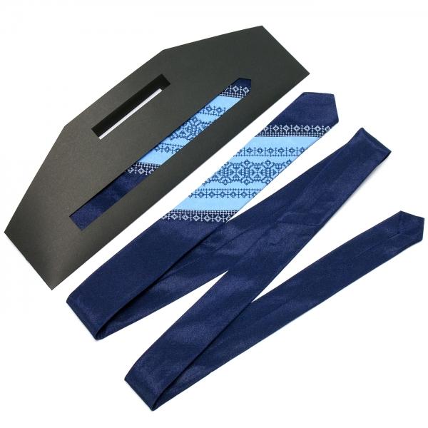 Тонкий оригинальный вышитый галстук №656