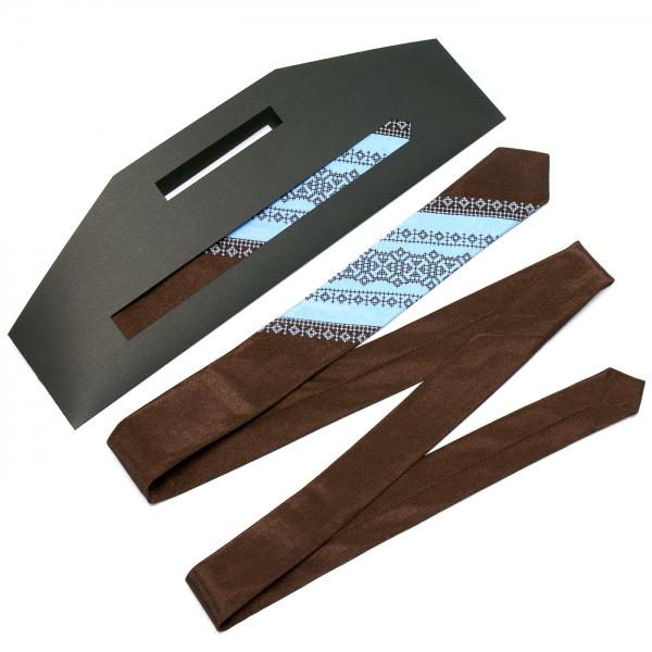 Тонкий оригинальный вышитый галстук №657