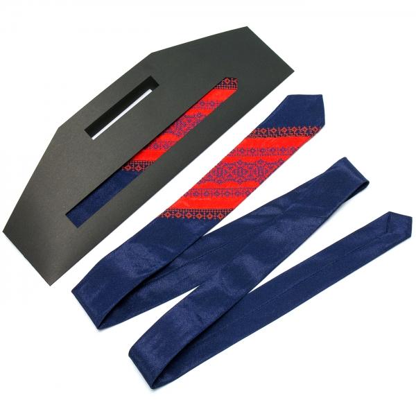 Тонкий оригинальный вышитый галстук №659
