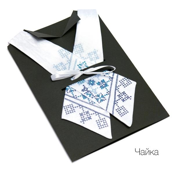 Кросс-галстук с вышивкой Чайка