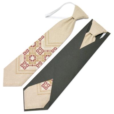 Детский вышитый галстук из льна №672
