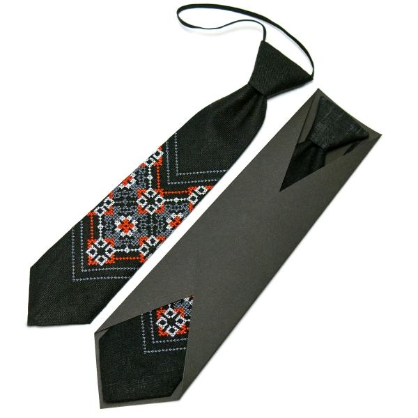 Детский вышитый галстук из льна №674