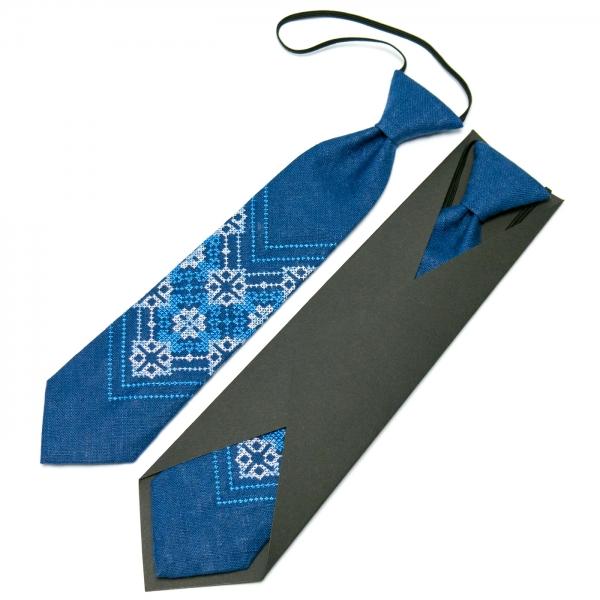 Детский вышитый галстук из льна №675