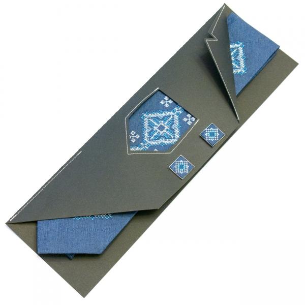 Джинсовый галстук с запонками Поле