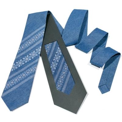 Джинсовый вышитый галстук №683
