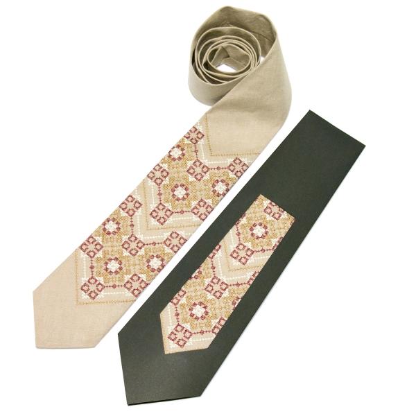Вышитый галстук из льна №677