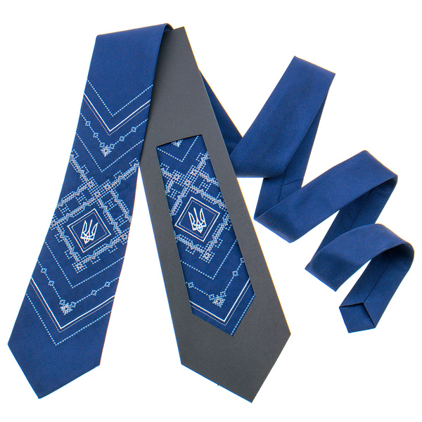 Вышитый галстук с трезубом №819