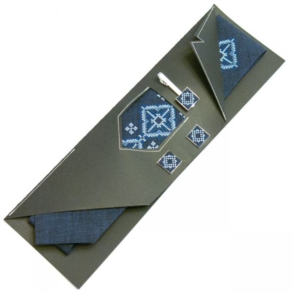 Вышитый набор Сухан галстук + зажим + запонки