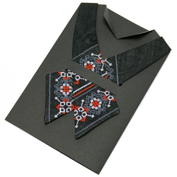 Вышитый кросс-галстук из льна №668