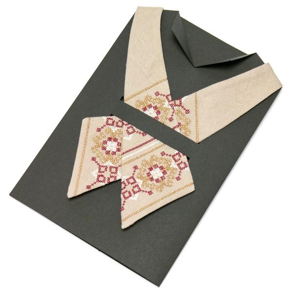 Вышитый кросс-галстук из льна №669