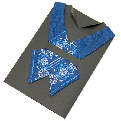 Вышитый кросс-галстук из льна №670