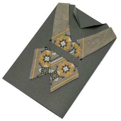 Вышитый кросс-галстук из льна №671