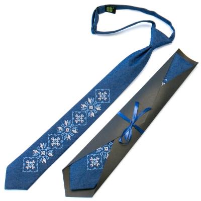 Подростковый джинсовый галстук с вышивкой №709