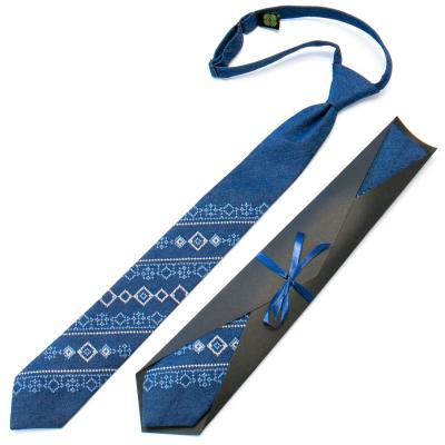 Подростковый джинсовый галстук с вышивкой №710