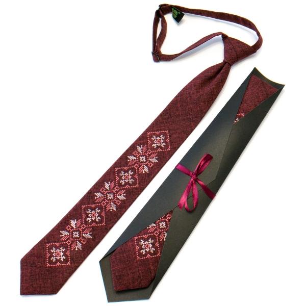Подростковый галстук с вышивкой бордовый №711