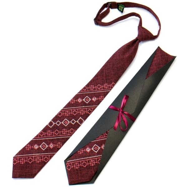 Подростковый галстук с вышивкой бордовый №712