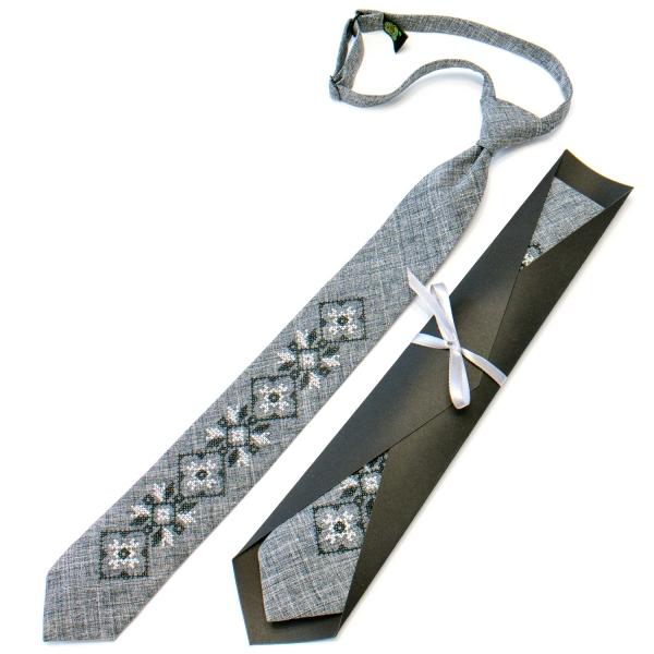 Подростковый галстук с вышивкой серый №713