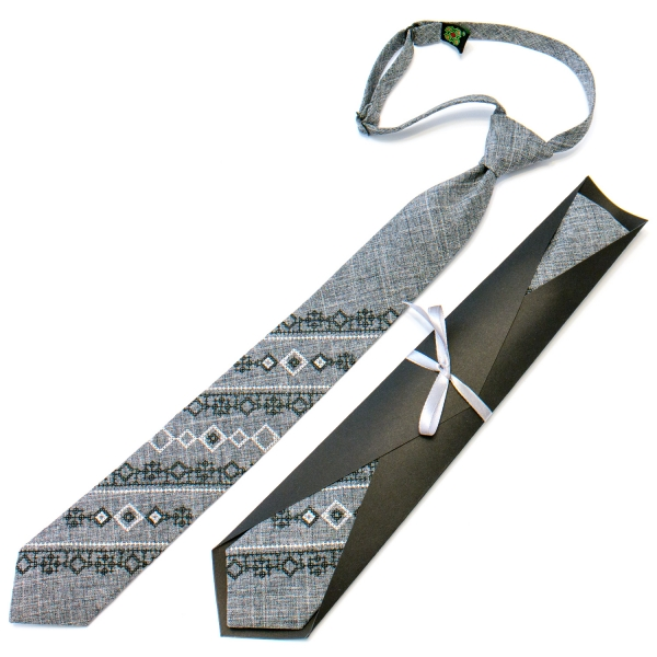 Подростковый галстук с вышивкой серый №714