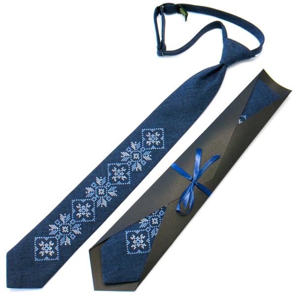 Подростковый галстук с вышивкой синий №715