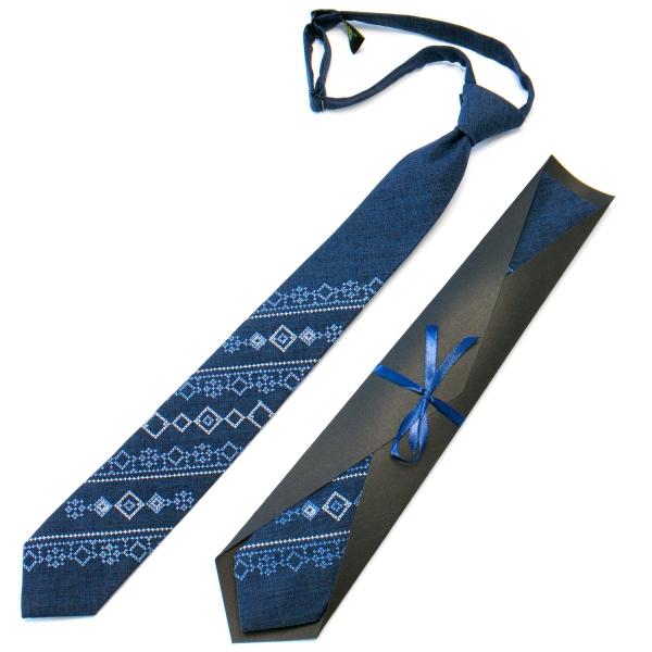 Подростковый галстук с вышивкой синий №716