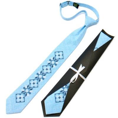Подростковый галстук с вышивкой голубой №717