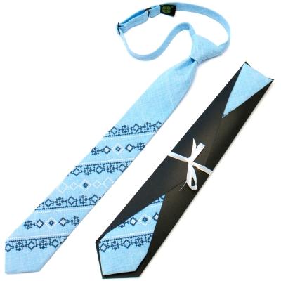 Подростковый галстук с вышивкой голубой №718