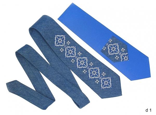 Джинсовый галстук с вышивкой Радим