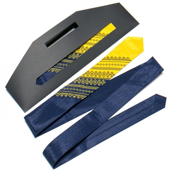 Галстук с вышивкой Сине-желтый дуэт (узкий)