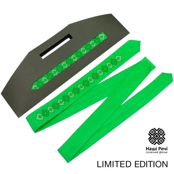 Зеленый тонкий вышитый галстук. Ограниченная серия