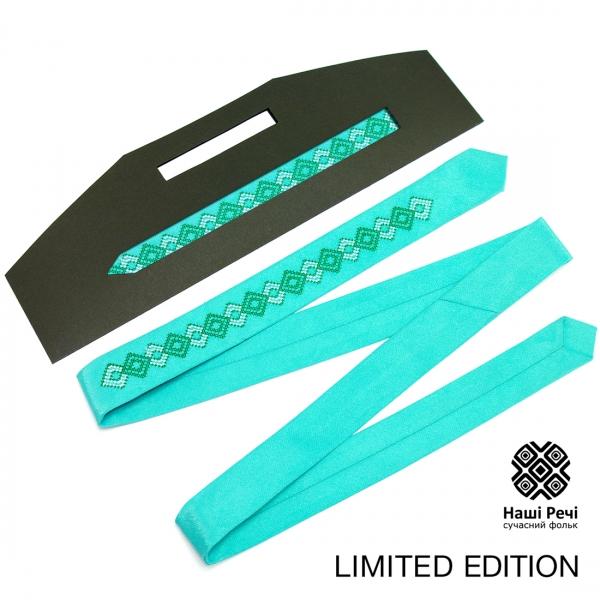 Мятный тонкий вышитый галстук. Ограниченная серия
