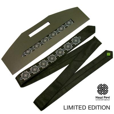 Черный тонкий вышитый галстук. Ограниченная серия